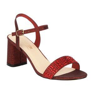 3dd449bff47c De Blossom Wine Sparkle Block Heel Sandal Shoes